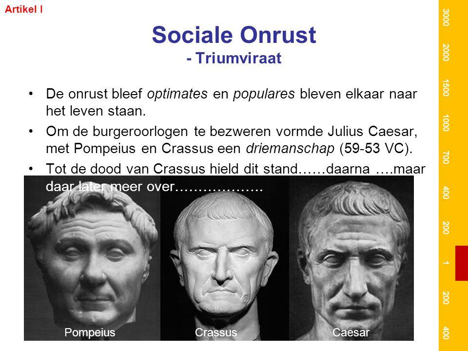 Sociale Onrust - Triumviraat De onrust bleef optimates en populares bleven elkaar naar het leven staan. Om de burgeroorlogen te bezweren vormde Julius