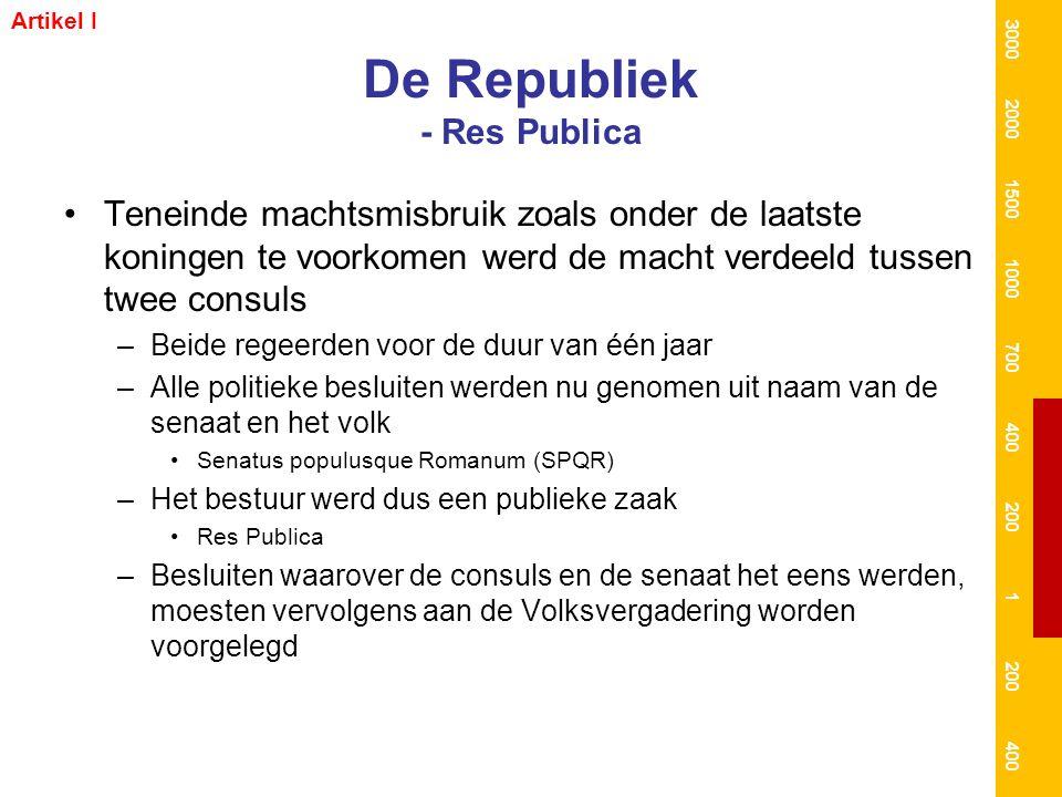 De Republiek - Res Publica Teneinde machtsmisbruik zoals onder de laatste koningen te voorkomen werd de macht verdeeld tussen twee consuls –Beide rege