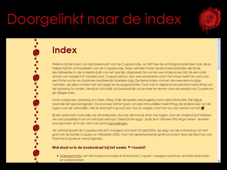 Doorgelinkt naar de index