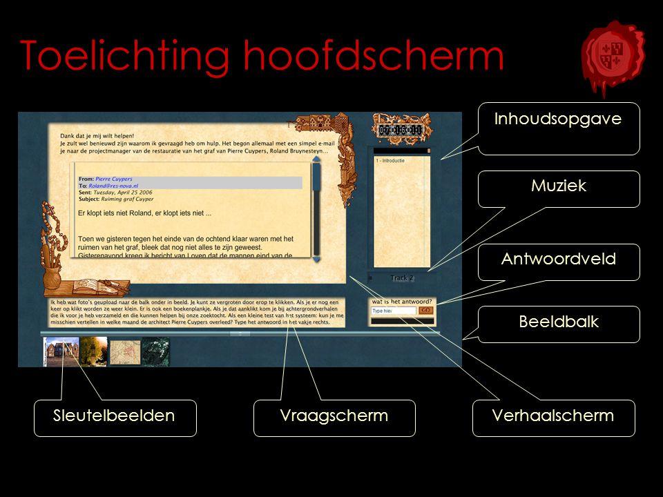 Toelichting hoofdscherm Muziek Inhoudsopgave Beeldbalk Antwoordveld Vraagscherm Sleutelbeelden Verhaalscherm