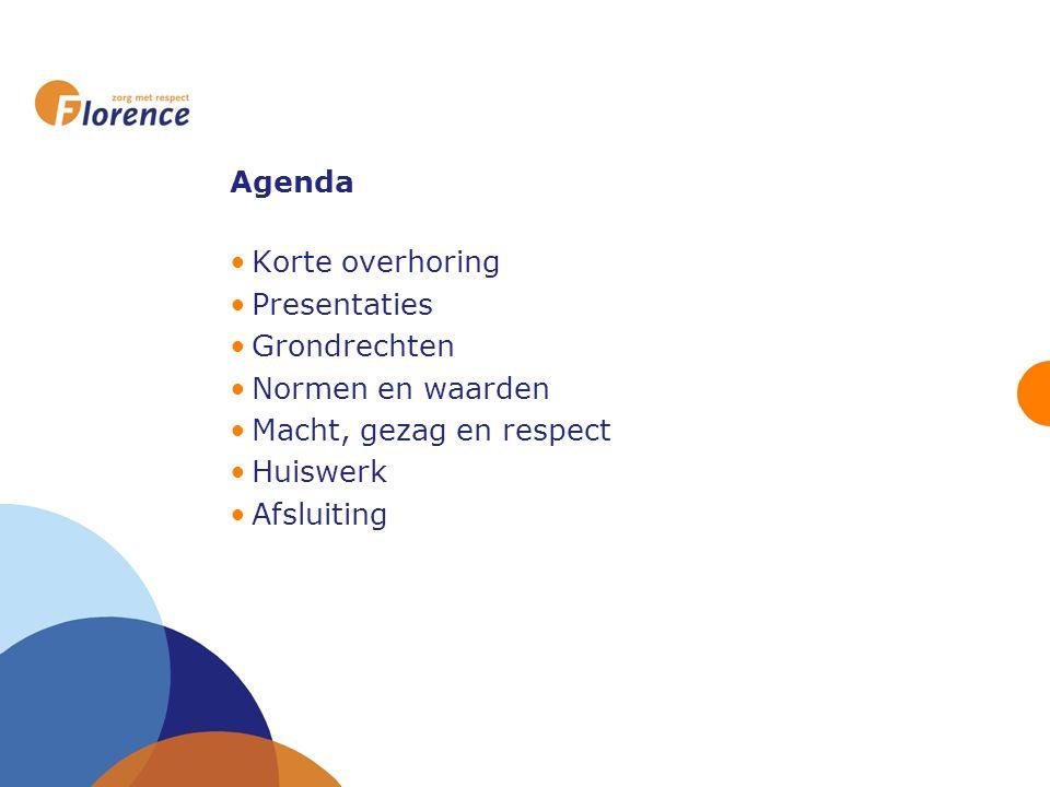 Agenda Korte overhoring Presentaties Grondrechten Normen en waarden Macht, gezag en respect Huiswerk Afsluiting