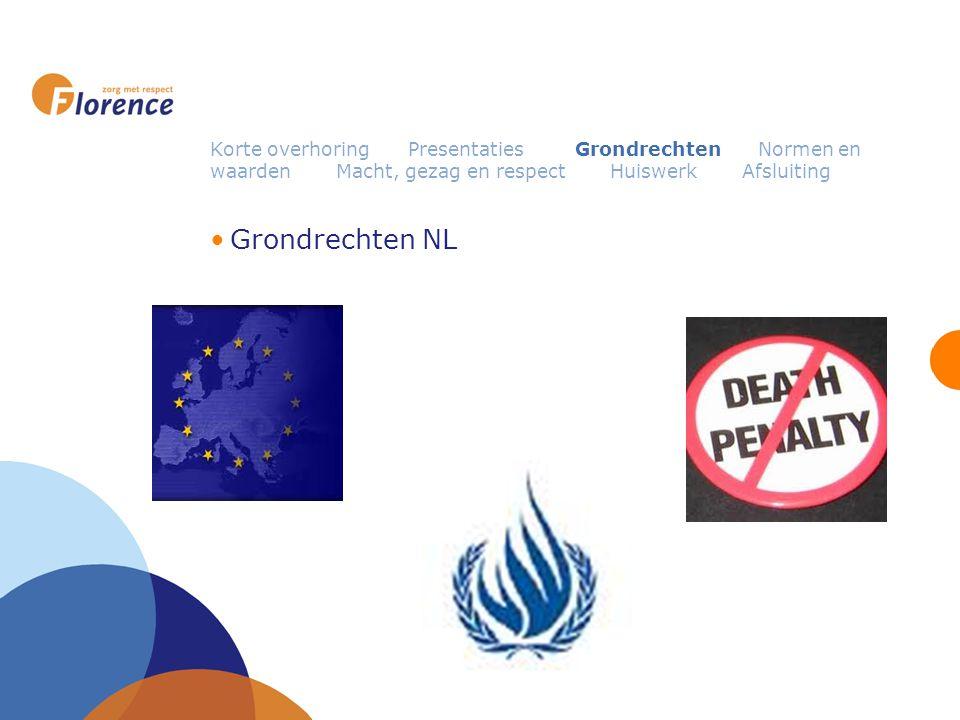 Korte overhoring Presentaties Grondrechten Normen en waarden Macht, gezag en respect Huiswerk Afsluiting Grondrechten NL