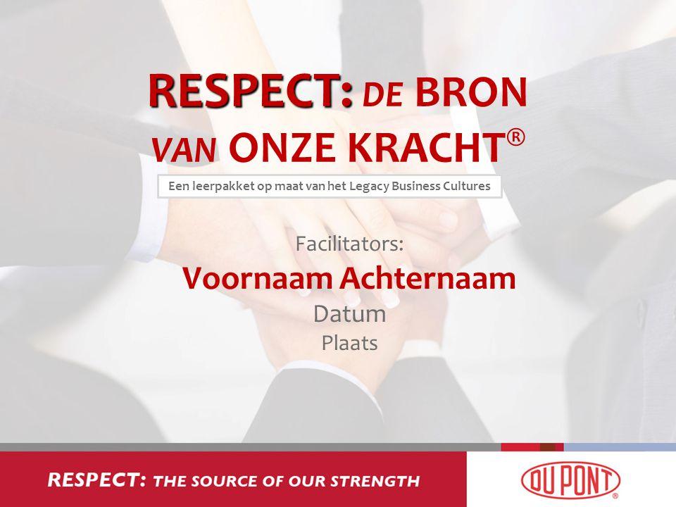 RESPECT: RESPECT: DE BRON VAN ONZE KRACHT ® Facilitators: Voornaam Achternaam Datum Plaats Een leerpakket op maat van het Legacy Business Cultures