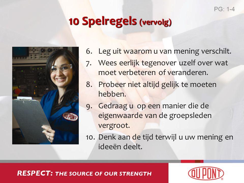 10 Spelregels (vervolg) 6.Leg uit waarom u van mening verschilt. 7.Wees eerlijk tegenover uzelf over wat moet verbeteren of veranderen. 8.Probeer niet