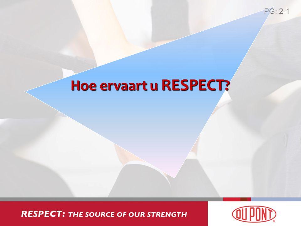 Hoe ervaart u RESPECT ? PG: 2-1