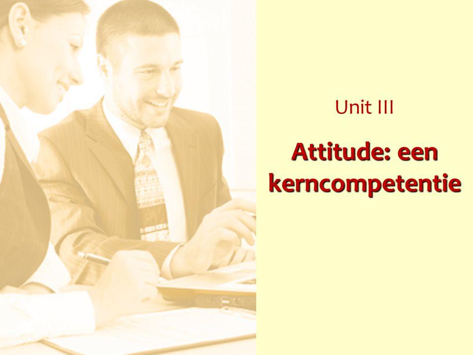 Attitude: een kerncompetentie Unit III Attitude: een kerncompetentie