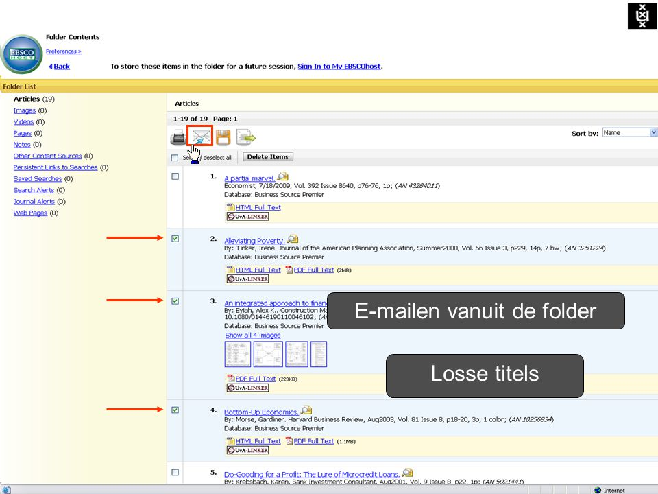 Alle titels E-mailen vanuit de folder Losse titels E-mailen vanuit de folder
