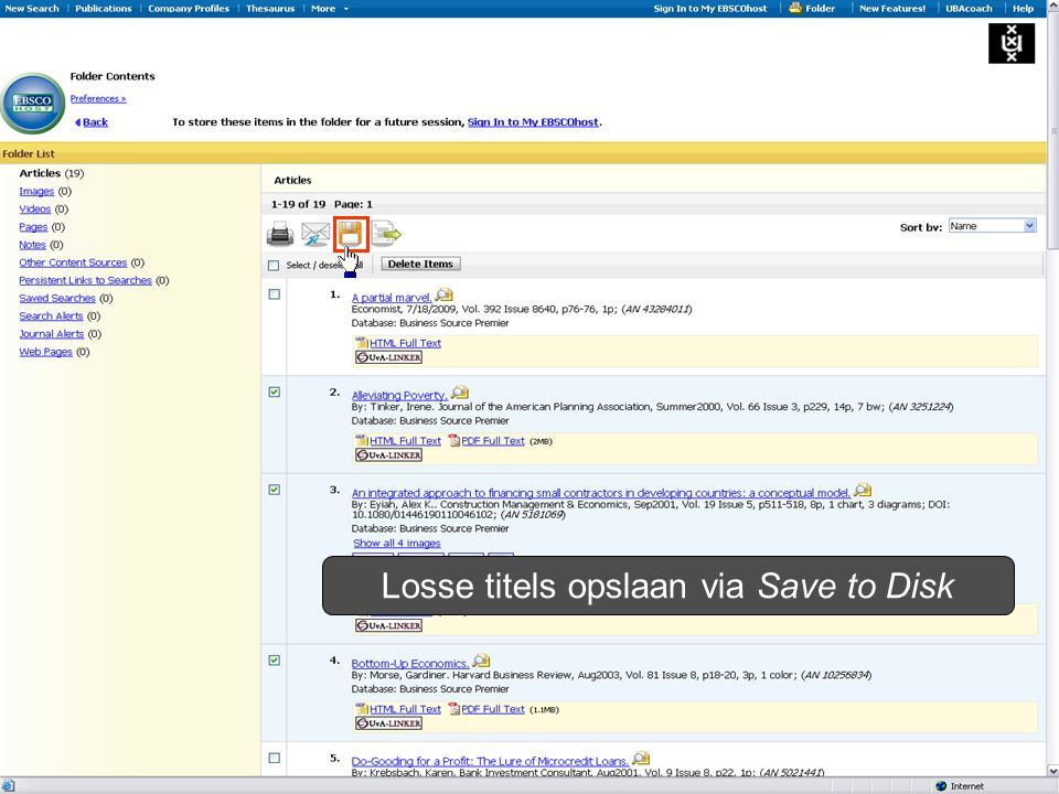 Losse titels opslaan via Save to Disk