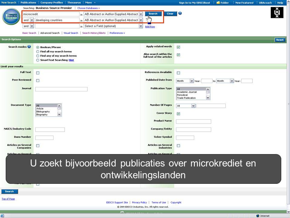 U zoekt bijvoorbeeld publicaties over microkrediet en ontwikkelingslanden