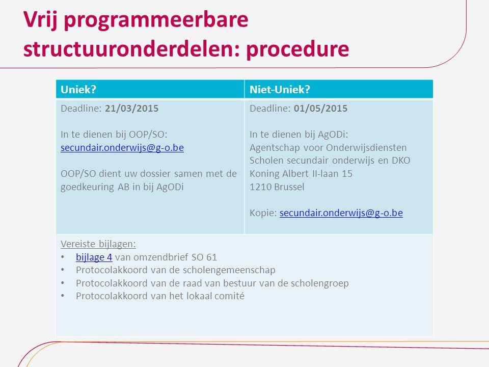 Vrij programmeerbare structuuronderdelen: procedure Uniek?Niet-Uniek? Deadline: 21/03/2015 In te dienen bij OOP/SO: secundair.onderwijs@g-o.be OOP/SO