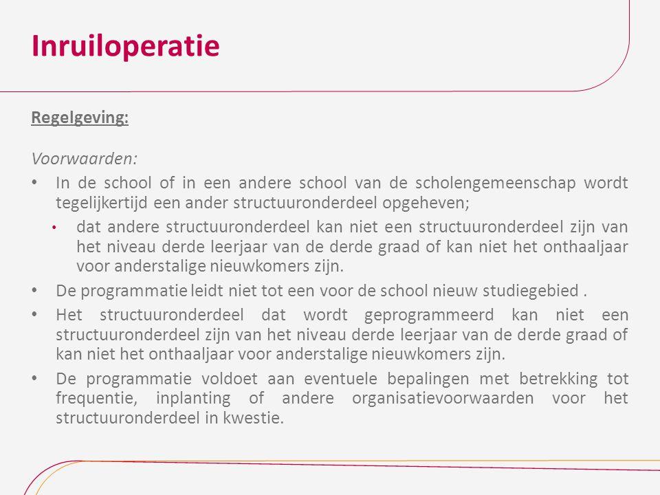 Inruiloperatie Regelgeving: Voorwaarden: In de school of in een andere school van de scholengemeenschap wordt tegelijkertijd een ander structuuronderd