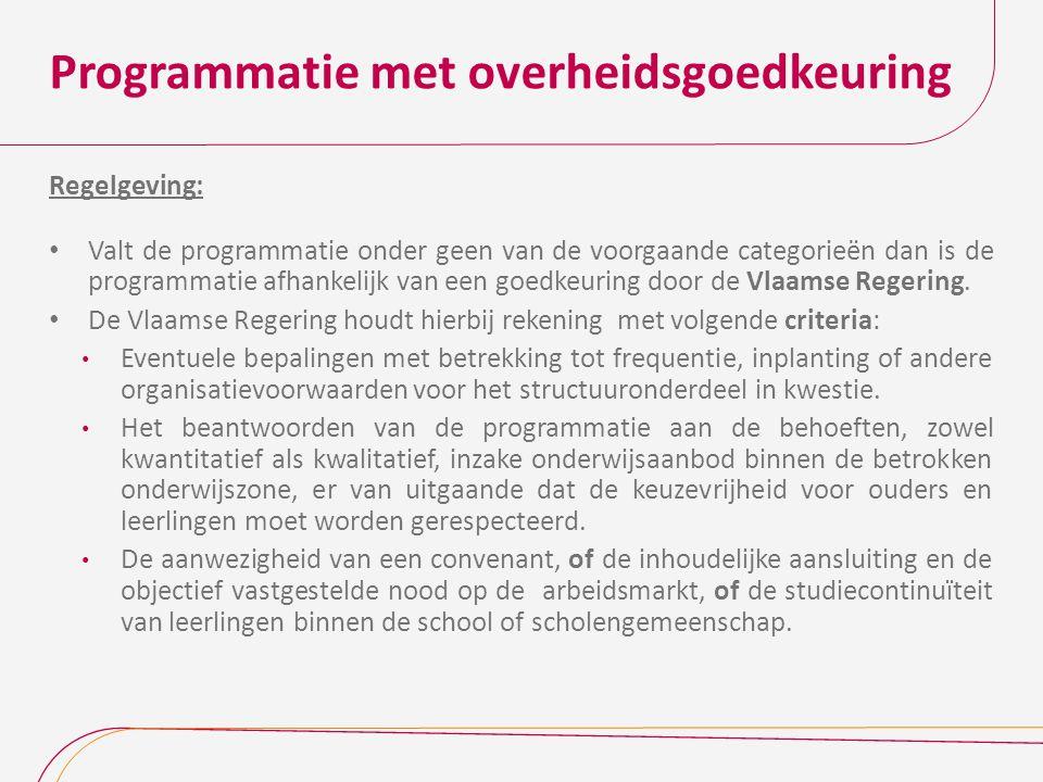 Programmatie met overheidsgoedkeuring Regelgeving: Valt de programmatie onder geen van de voorgaande categorieën dan is de programmatie afhankelijk va