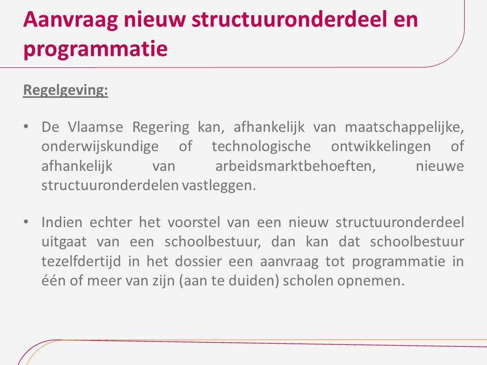 Aanvraag nieuw structuuronderdeel en programmatie Regelgeving: De Vlaamse Regering kan, afhankelijk van maatschappelijke, onderwijskundige of technolo