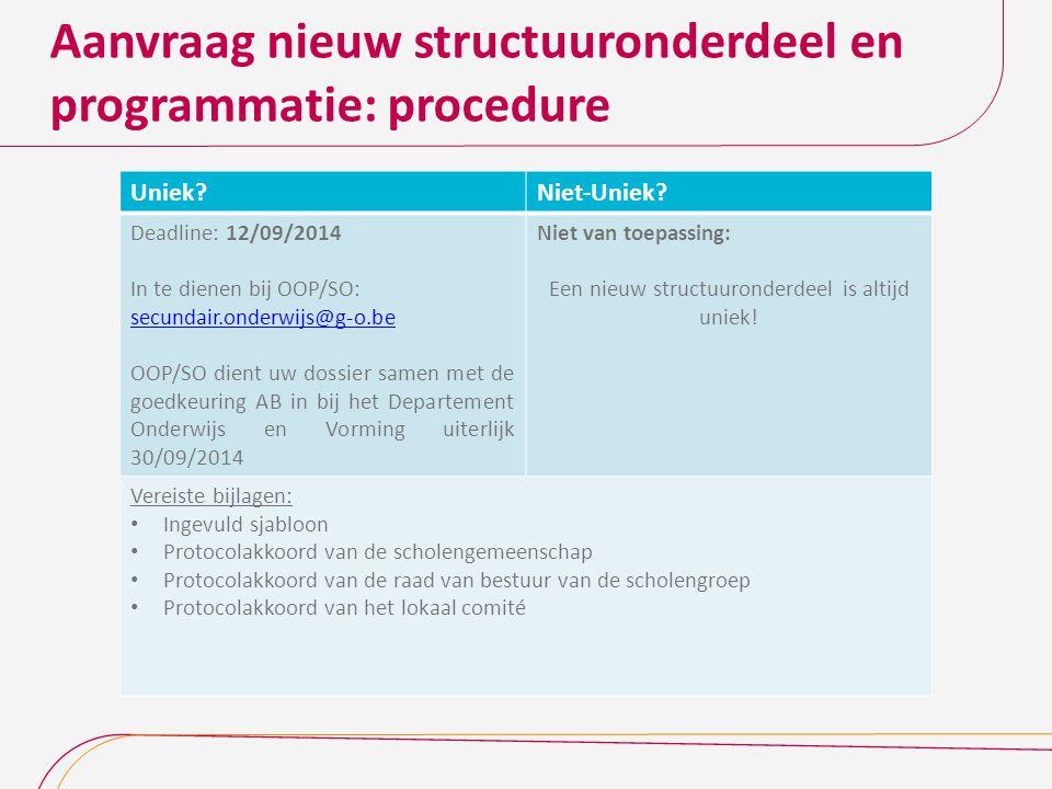 Aanvraag nieuw structuuronderdeel en programmatie: procedure Uniek?Niet-Uniek? Deadline: 12/09/2014 In te dienen bij OOP/SO: secundair.onderwijs@g-o.b