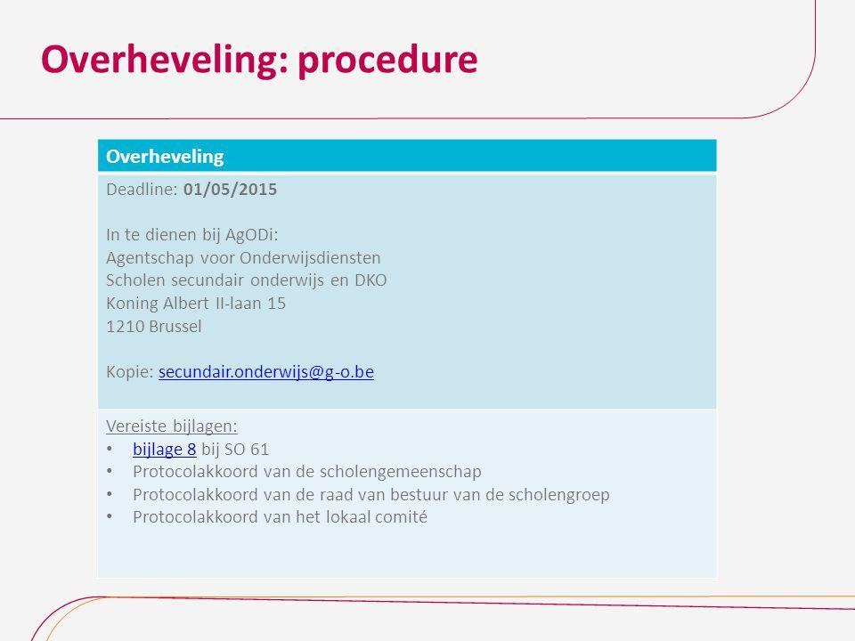 Overheveling: procedure Overheveling Deadline: 01/05/2015 In te dienen bij AgODi: Agentschap voor Onderwijsdiensten Scholen secundair onderwijs en DKO
