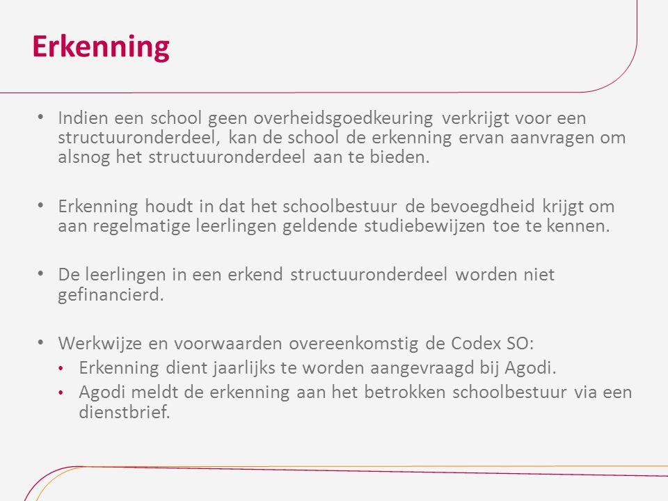Erkenning Indien een school geen overheidsgoedkeuring verkrijgt voor een structuuronderdeel, kan de school de erkenning ervan aanvragen om alsnog het