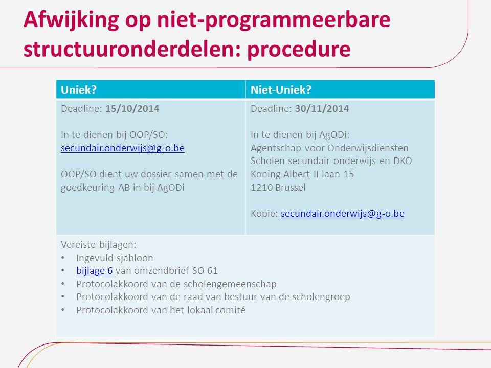 Afwijking op niet-programmeerbare structuuronderdelen: procedure Uniek?Niet-Uniek? Deadline: 15/10/2014 In te dienen bij OOP/SO: secundair.onderwijs@g