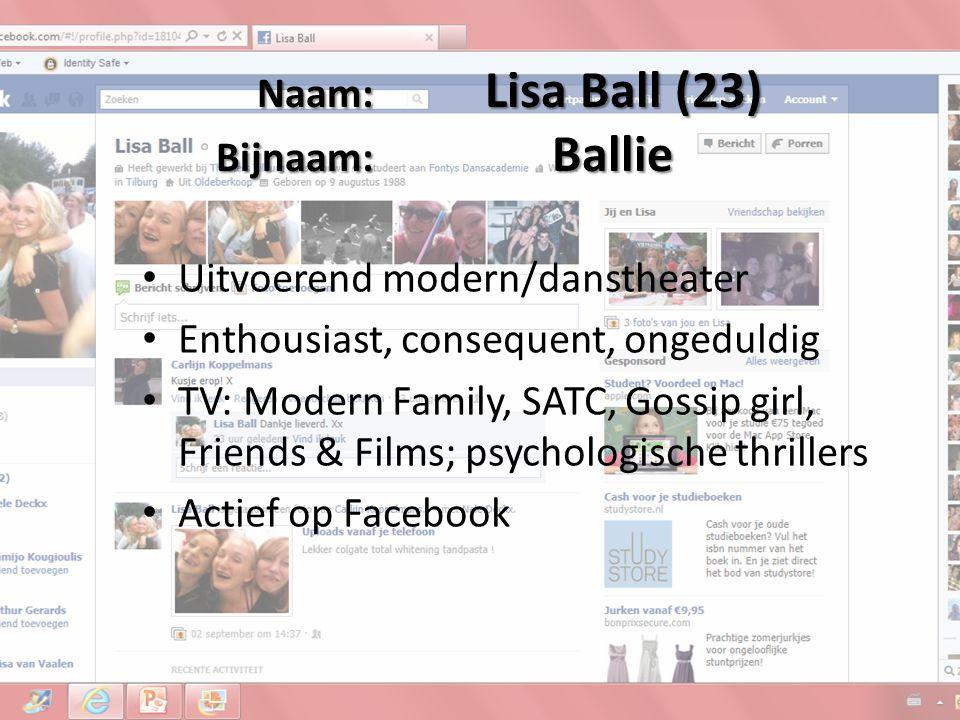 Naam: Jorine de Bruin(20) Bijnaam: Jor Uitvoerend jazz/urban Betrokken, perfectionistisch, afwachtend TV: Grey's anatomy, private practice, Wie is de Mol.