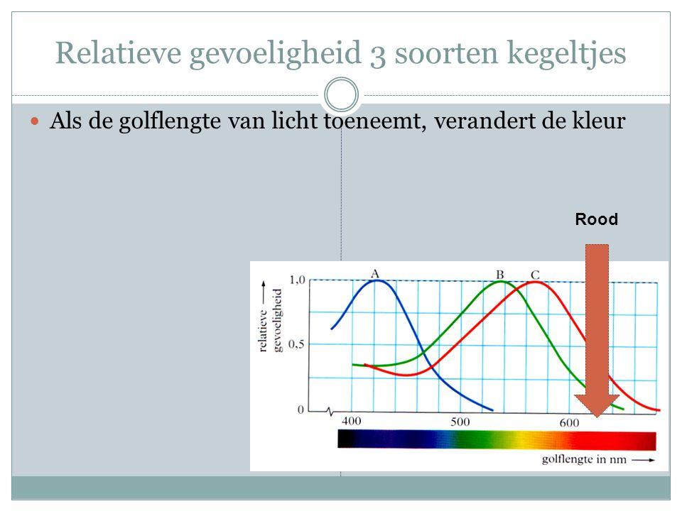 Relatieve gevoeligheid 3 soorten kegeltjes Als de golflengte van licht toeneemt, verandert de kleur Rood