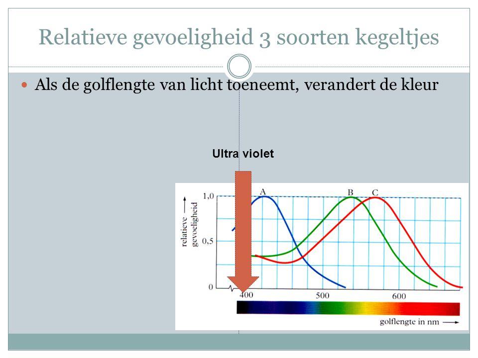 Relatieve gevoeligheid 3 soorten kegeltjes Als de golflengte van licht toeneemt, verandert de kleur Ultra violet