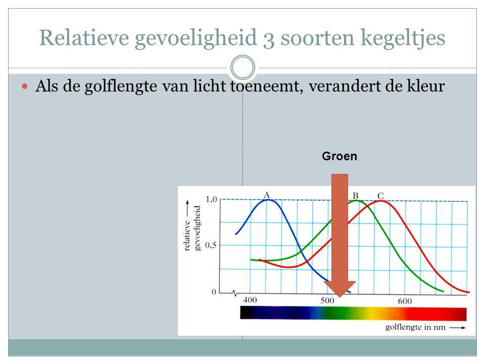 Relatieve gevoeligheid 3 soorten kegeltjes Als de golflengte van licht toeneemt, verandert de kleur Groen