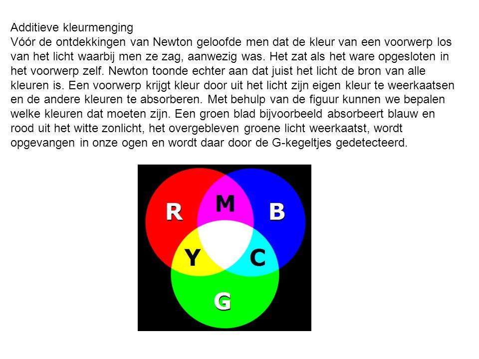 Additieve kleurmenging Vóór de ontdekkingen van Newton geloofde men dat de kleur van een voorwerp los van het licht waarbij men ze zag, aanwezig was.
