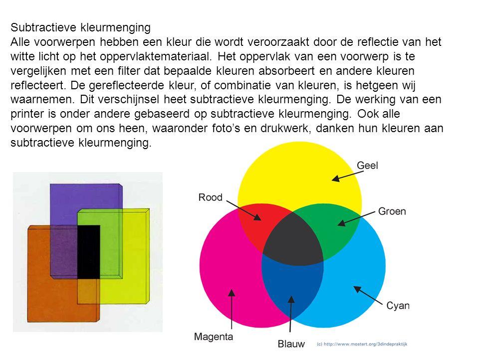 Subtractieve kleurmenging Alle voorwerpen hebben een kleur die wordt veroorzaakt door de reflectie van het witte licht op het oppervlaktemateriaal. He
