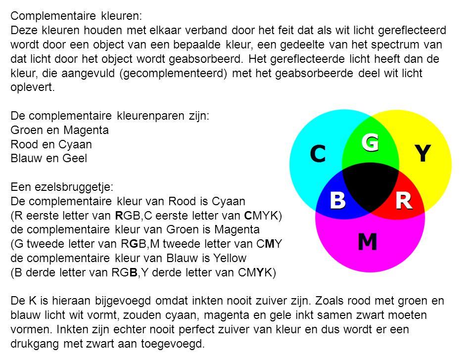 Complementaire kleuren: Deze kleuren houden met elkaar verband door het feit dat als wit licht gereflecteerd wordt door een object van een bepaalde kl