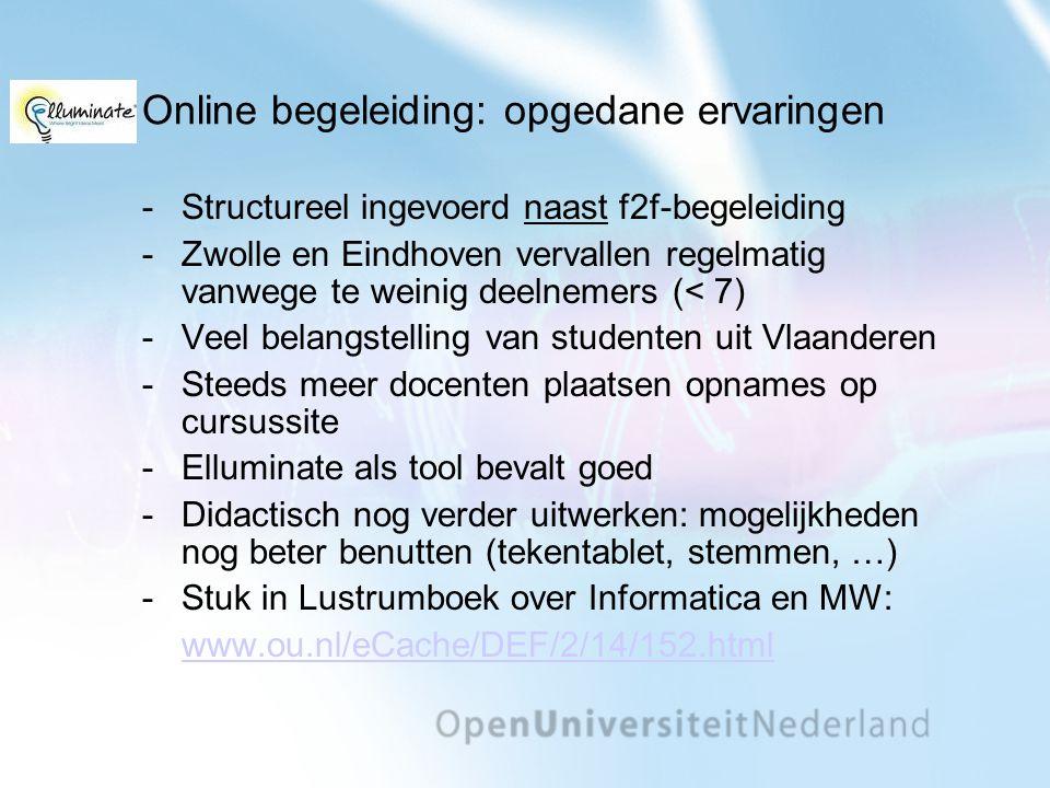 Online begeleiding: opgedane ervaringen Structureel ingevoerd naast f2f-begeleiding Zwolle en Eindhoven vervallen regelmatig vanwege te weinig deeln