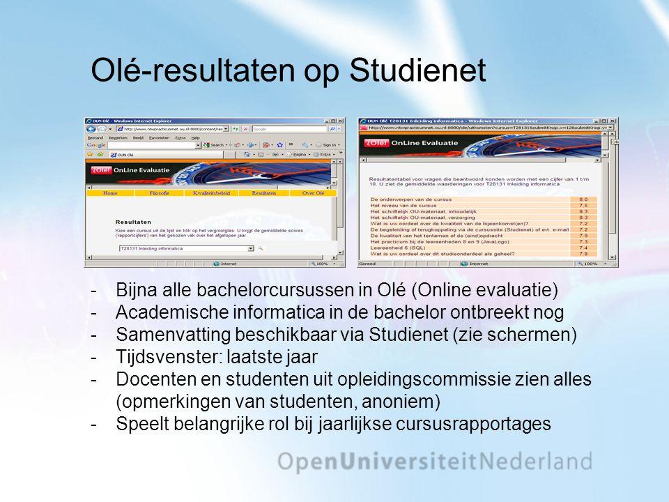 Olé-resultaten op Studienet Bijna alle bachelorcursussen in Olé (Online evaluatie) Academische informatica in de bachelor ontbreekt nog Samenvattin