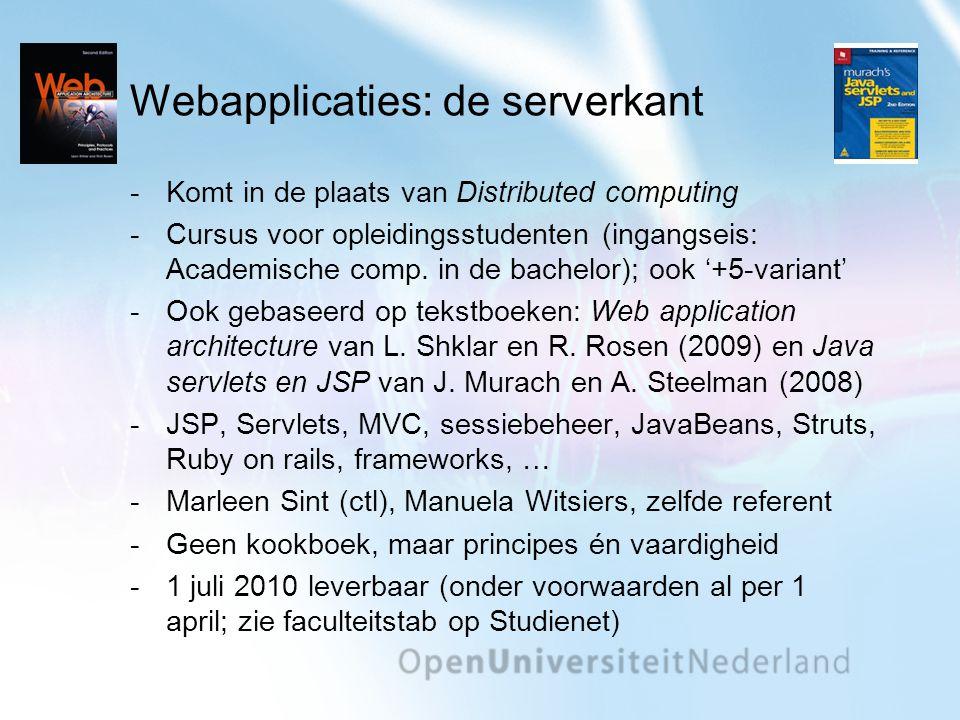 Webapplicaties: de serverkant Komt in de plaats van Distributed computing Cursus voor opleidingsstudenten (ingangseis: Academische comp. in de bache