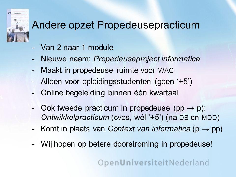 Andere opzet Propedeusepracticum Van 2 naar 1 module Nieuwe naam: Propedeuseproject informatica Maakt in propedeuse ruimte voor WAC Alleen voor op