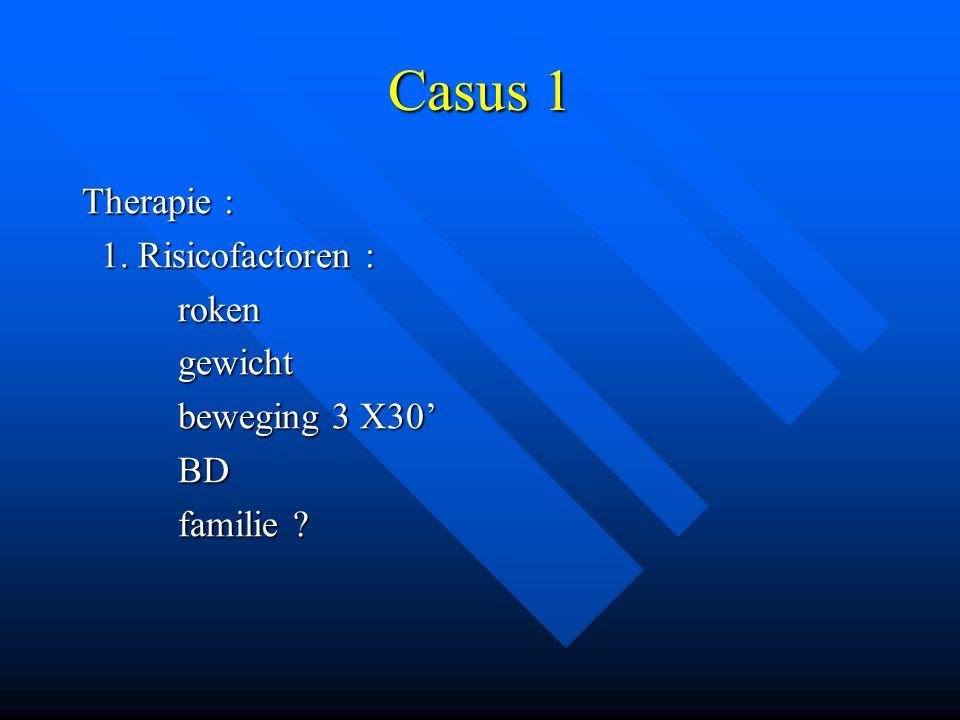 Casus 1 Therapie : 1. Risicofactoren : 1. Risicofactoren :rokengewicht beweging 3 X30' BD familie ?