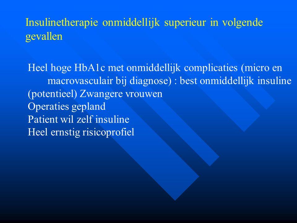 Heel hoge HbA1c met onmiddellijk complicaties (micro en macrovasculair bij diagnose) : best onmiddellijk insuline (potentieel) Zwangere vrouwen Operat