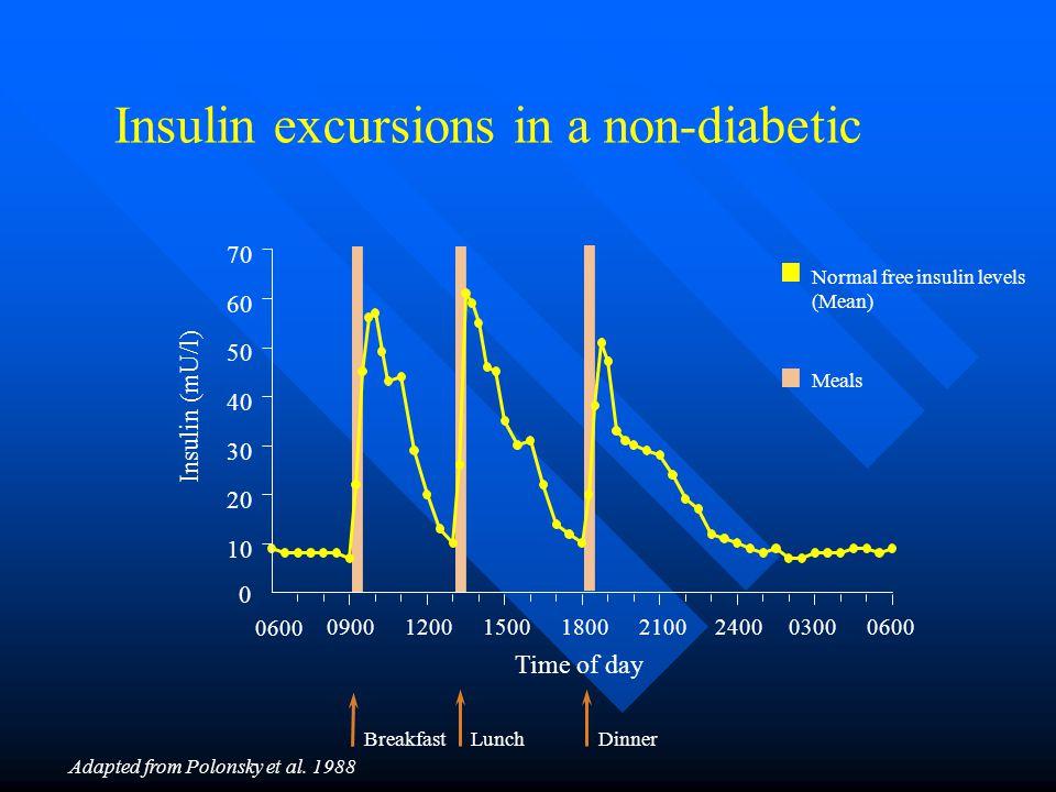 Insulin excursions in a non-diabetic 0 10 20 30 40 50 60 70 0600 09001200150018002100240003000600 Insulin (mU/l) Normal free insulin levels (Mean) Mea
