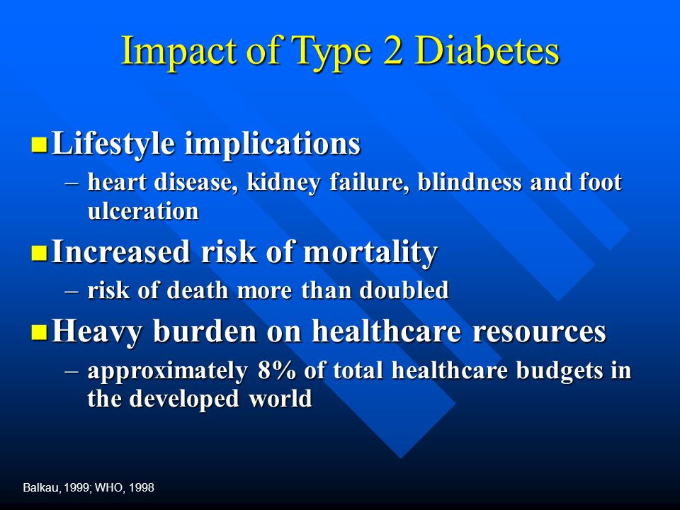 Impact of Type 2 Diabetes Lifestyle implications Lifestyle implications –heart disease, kidney failure, blindness and foot ulceration Increased risk o