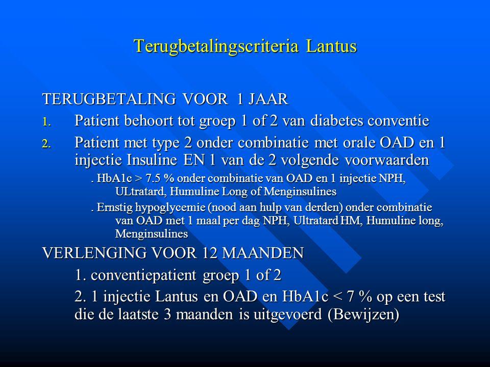 Terugbetalingscriteria Lantus TERUGBETALING VOOR 1 JAAR 1. Patient behoort tot groep 1 of 2 van diabetes conventie 2. Patient met type 2 onder combina