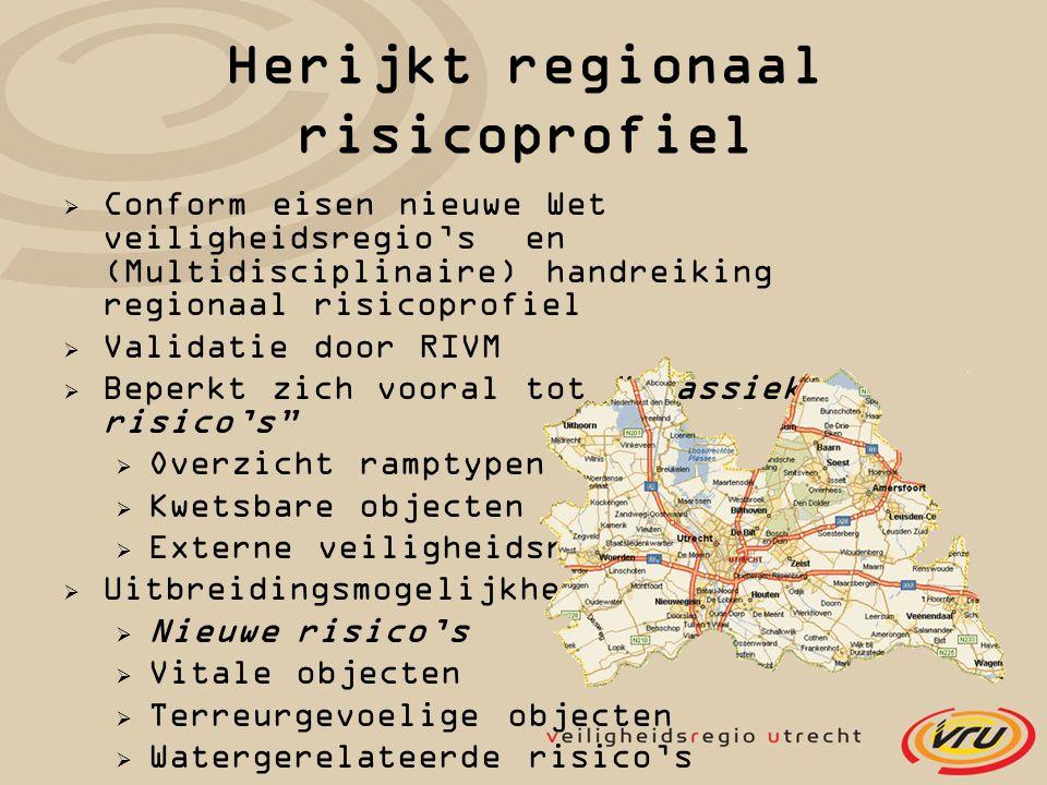 Herijkt regionaal risicoprofiel  Conform eisen nieuwe Wet veiligheidsregio's en (Multidisciplinaire) handreiking regionaal risicoprofiel  Validatie