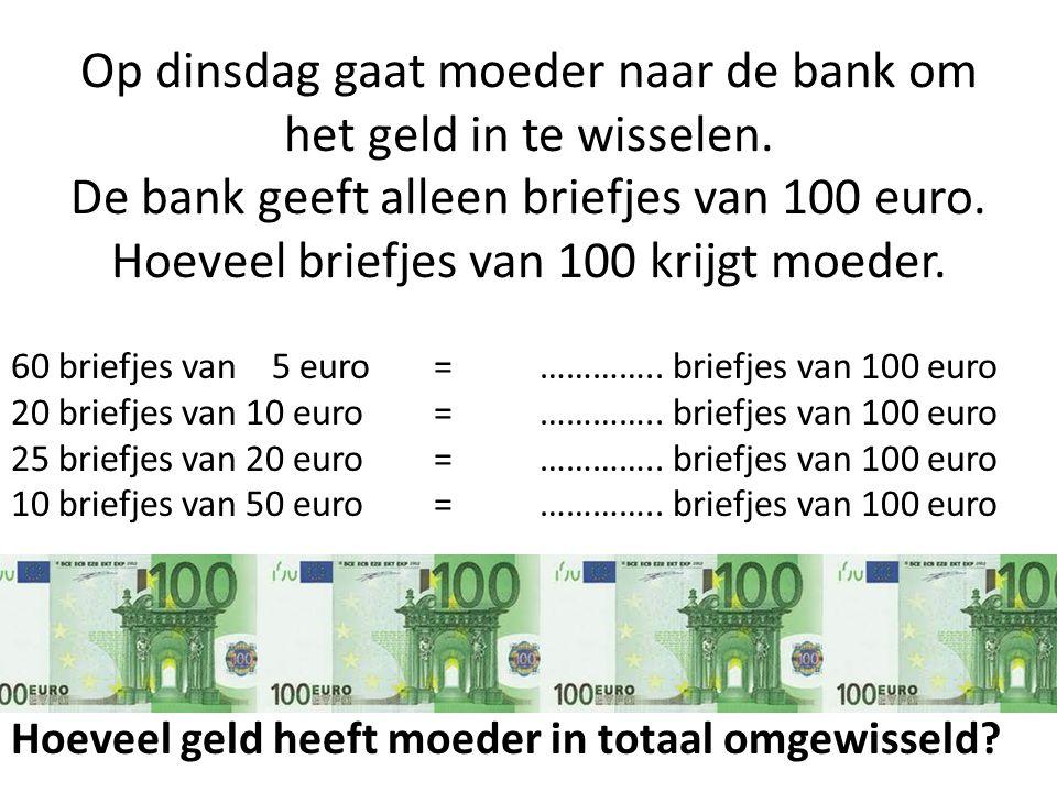 60 briefjes van 5 euro=………….. briefjes van 100 euro 20 briefjes van 10 euro=………….. briefjes van 100 euro 25 briefjes van 20 euro=………….. briefjes van 1