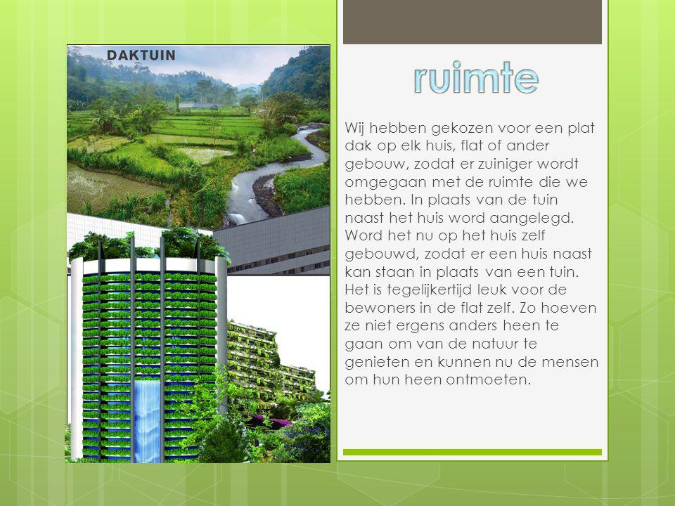 Wij hebben gekozen voor een plat dak op elk huis, flat of ander gebouw, zodat er zuiniger wordt omgegaan met de ruimte die we hebben. In plaats van de
