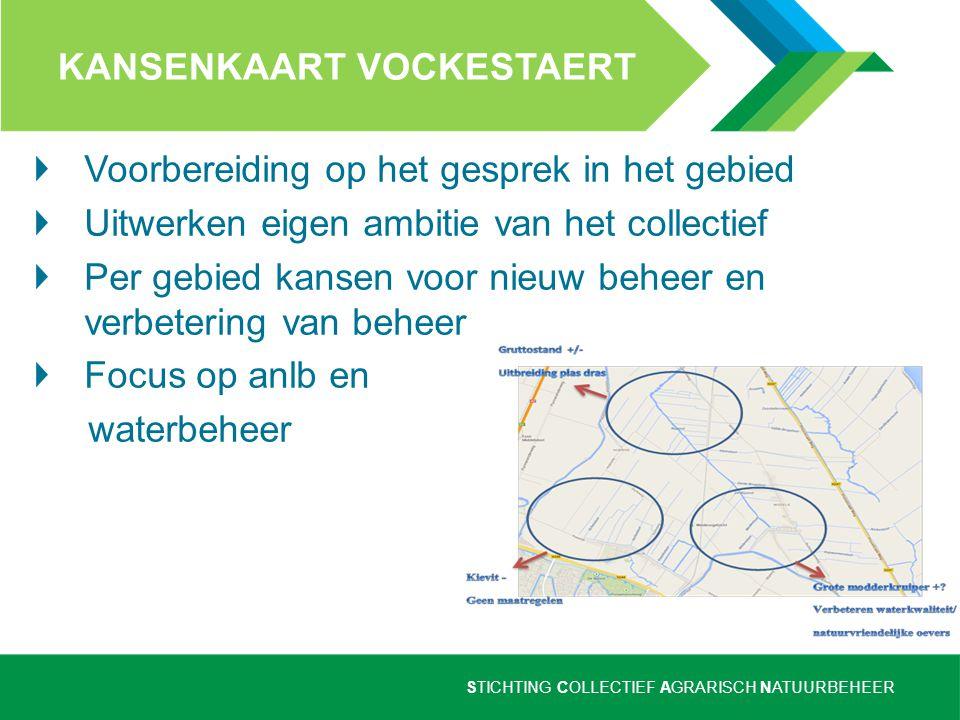 STICHTING COLLECTIEF AGRARISCH NATUURBEHEER KANSENKAART VOCKESTAERT Voorbereiding op het gesprek in het gebied Uitwerken eigen ambitie van het collect