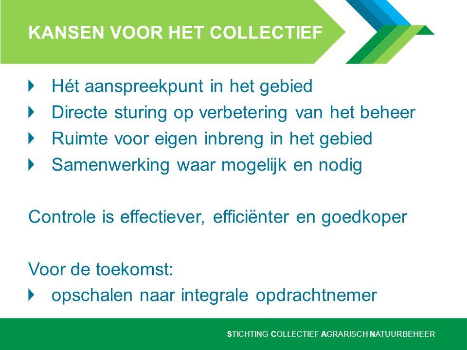 STICHTING COLLECTIEF AGRARISCH NATUURBEHEER KANSEN VOOR DE BOER betere afstemming beheer op bedrijf minder papierwerk ('ontzorgen') één duidelijke aanspreekpunt in het gebied