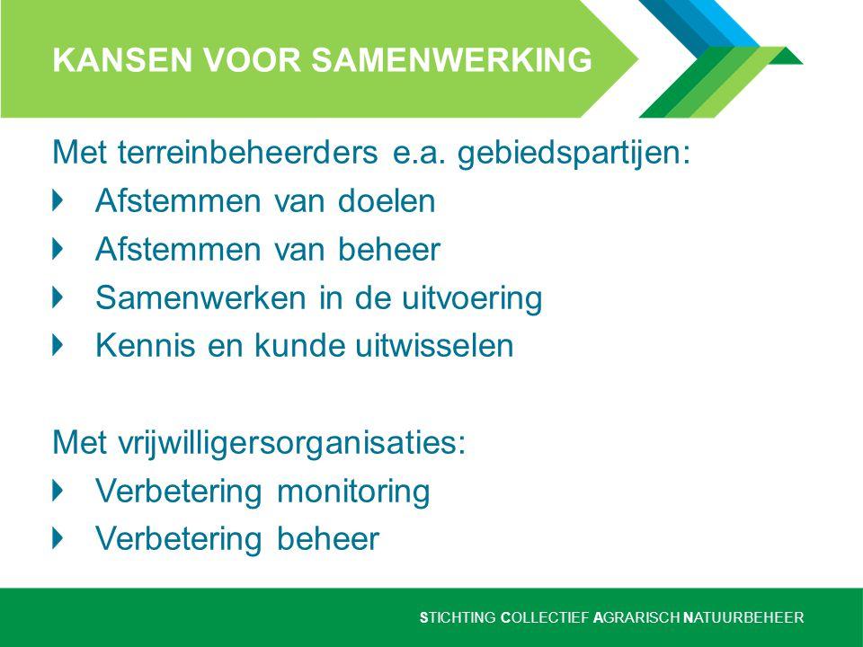 STICHTING COLLECTIEF AGRARISCH NATUURBEHEER KANSEN VOOR SAMENWERKING Met terreinbeheerders e.a. gebiedspartijen: Afstemmen van doelen Afstemmen van be