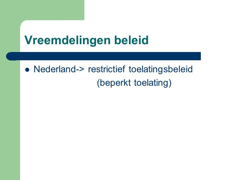 Vreemdelingen beleid Nederland-> restrictief toelatingsbeleid (beperkt toelating)