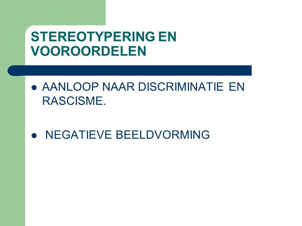 STEREOTYPERING EN VOOROORDELEN AANLOOP NAAR DISCRIMINATIE EN RASCISME. NEGATIEVE BEELDVORMING