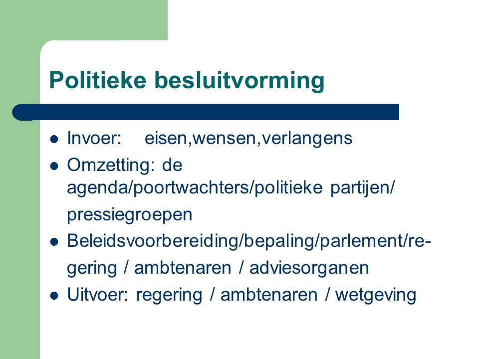 Politieke besluitvorming Invoer:eisen,wensen,verlangens Omzetting: de agenda/poortwachters/politieke partijen/ pressiegroepen Beleidsvoorbereiding/bep