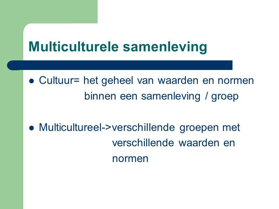 Multiculturele samenleving Cultuur= het geheel van waarden en normen binnen een samenleving / groep Multicultureel->verschillende groepen met verschil