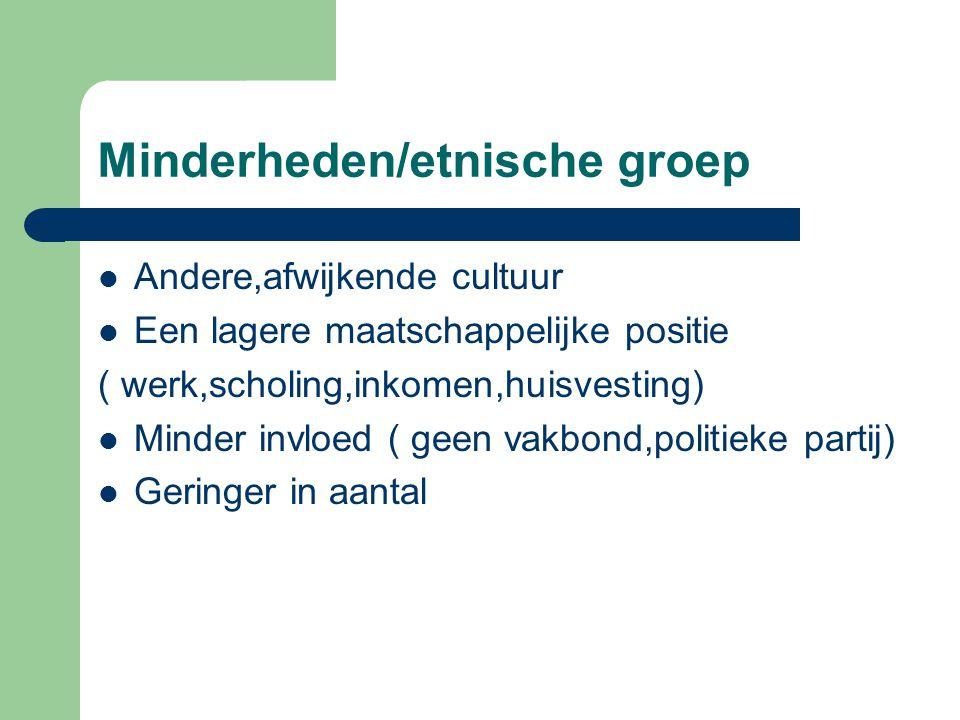 Minderheden/etnische groep Andere,afwijkende cultuur Een lagere maatschappelijke positie ( werk,scholing,inkomen,huisvesting) Minder invloed ( geen va