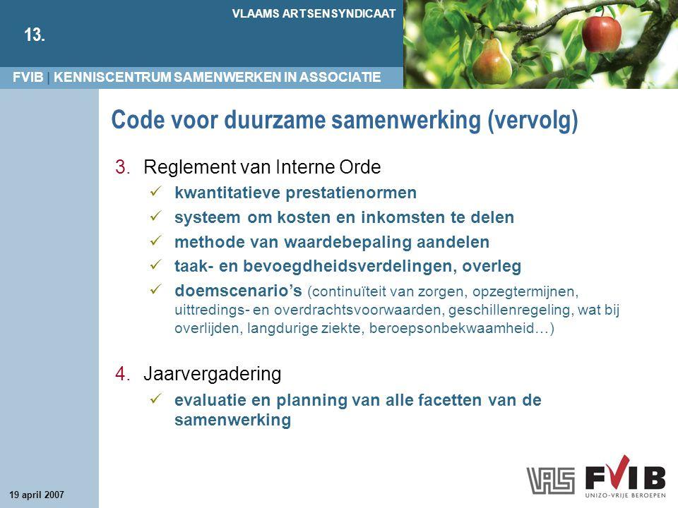 FVIB | KENNISCENTRUM SAMENWERKEN IN ASSOCIATIE VLAAMS ARTSENSYNDICAAT 13. 19 april 2007 Code voor duurzame samenwerking (vervolg) 3.Reglement van Inte