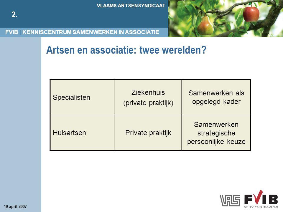 FVIB | KENNISCENTRUM SAMENWERKEN IN ASSOCIATIE VLAAMS ARTSENSYNDICAAT 2. 19 april 2007 Artsen en associatie: twee werelden? Specialisten Ziekenhuis (p